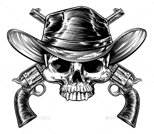 Skull Cowboy and Guns - Miscellaneous Vectors