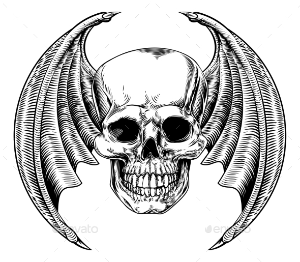 Winged Skull Etching Style - Buildings Objects
