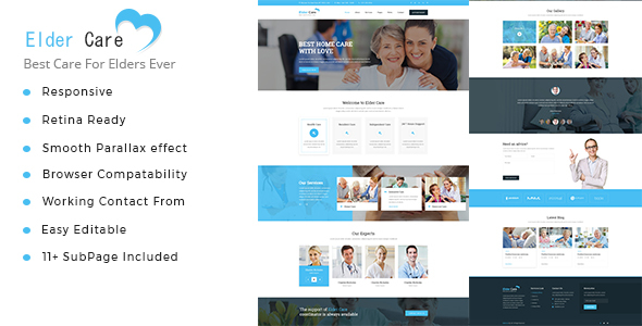 Elder Care – Senior Security HTML Template