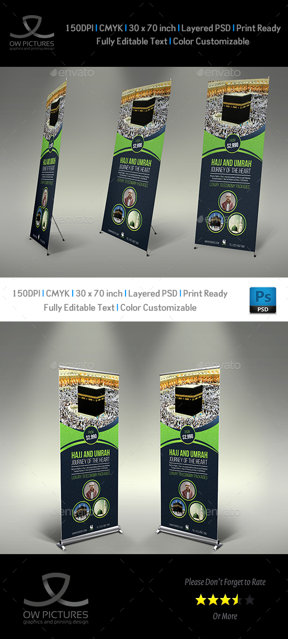 Umrah Banner: Hajj And Umrah Signage Banner Roll Up Template By
