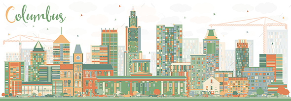 Abstract Columbus Skyline with Color Buildings. - Buildings Objects