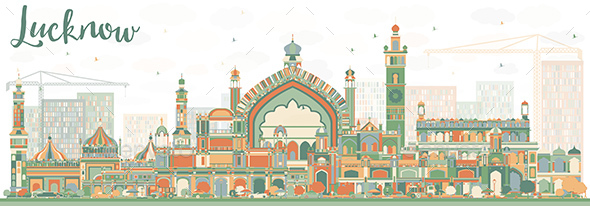 Abstract Lucknow Skyline with Color Buildings. - Buildings Objects