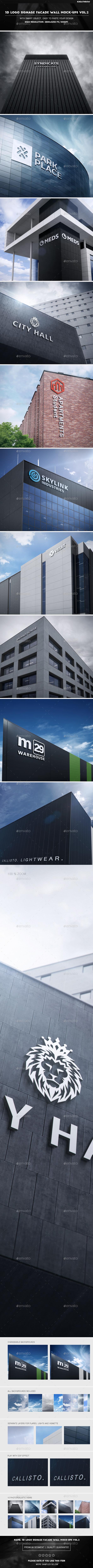 3D Logo Signage Facade Wall Mock-Ups Vol.2 - Logo Product Mock-Ups