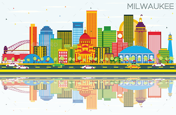 Milwaukee Skyline with Color Buildings, Blue Sky and Reflections. - Buildings Objects
