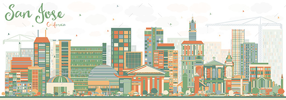 Abstract San Jose California Skyline with Color Buildings. - Buildings Objects