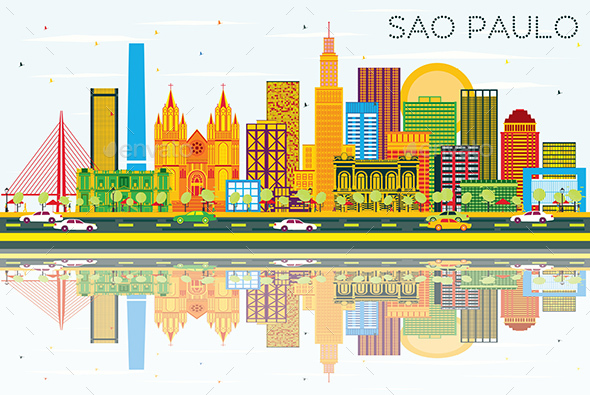 Sao Paulo Skyline with Gray Buildings, Blue Sky and Reflections. - Buildings Objects