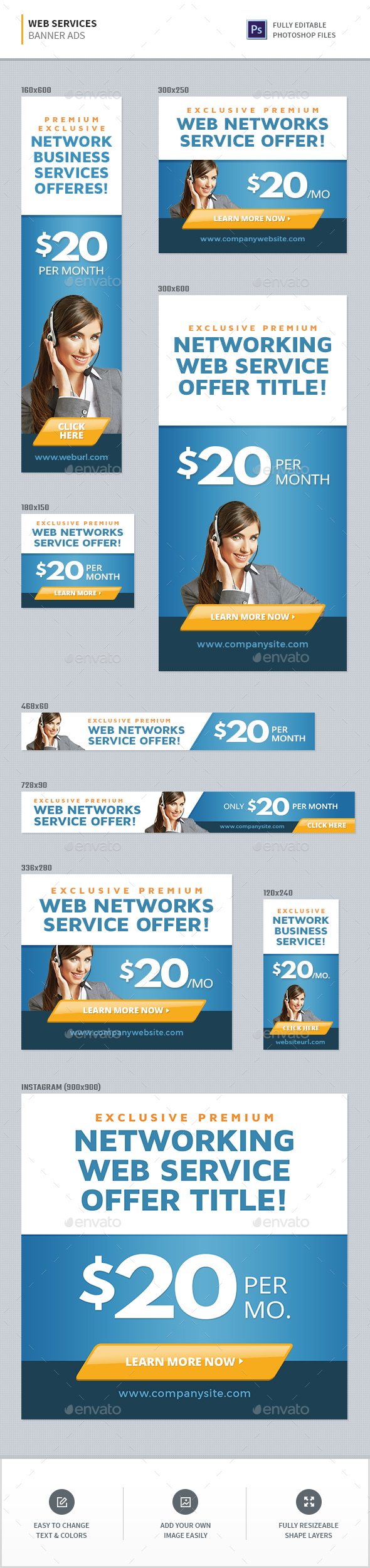 Web Services Banners - Banners & Ads Web Elements