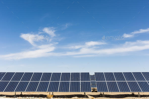 solar energy with blue sky - Stock Photo - Images