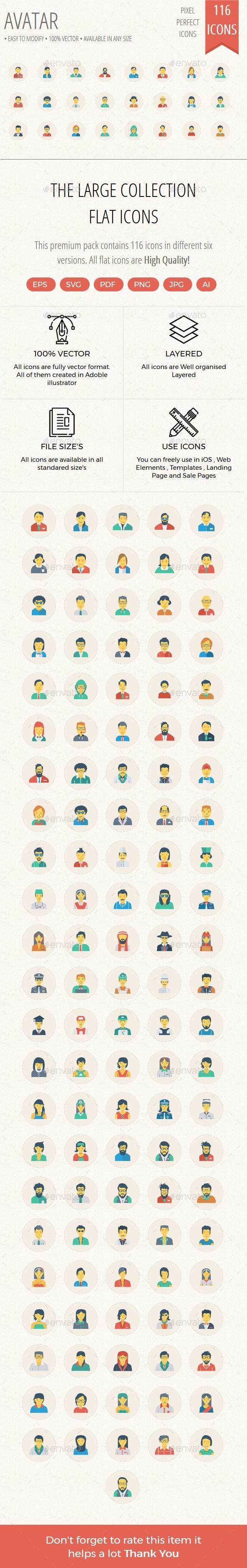 100+ Avatar Flat Circle Icons - Characters Icons