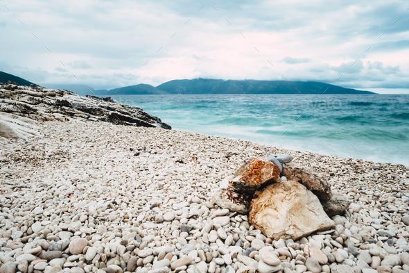 Landscape of pebble stones beach - Stock Photo - Images