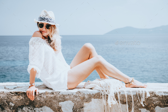 Beauty woman at the seaside - Stock Photo - Images