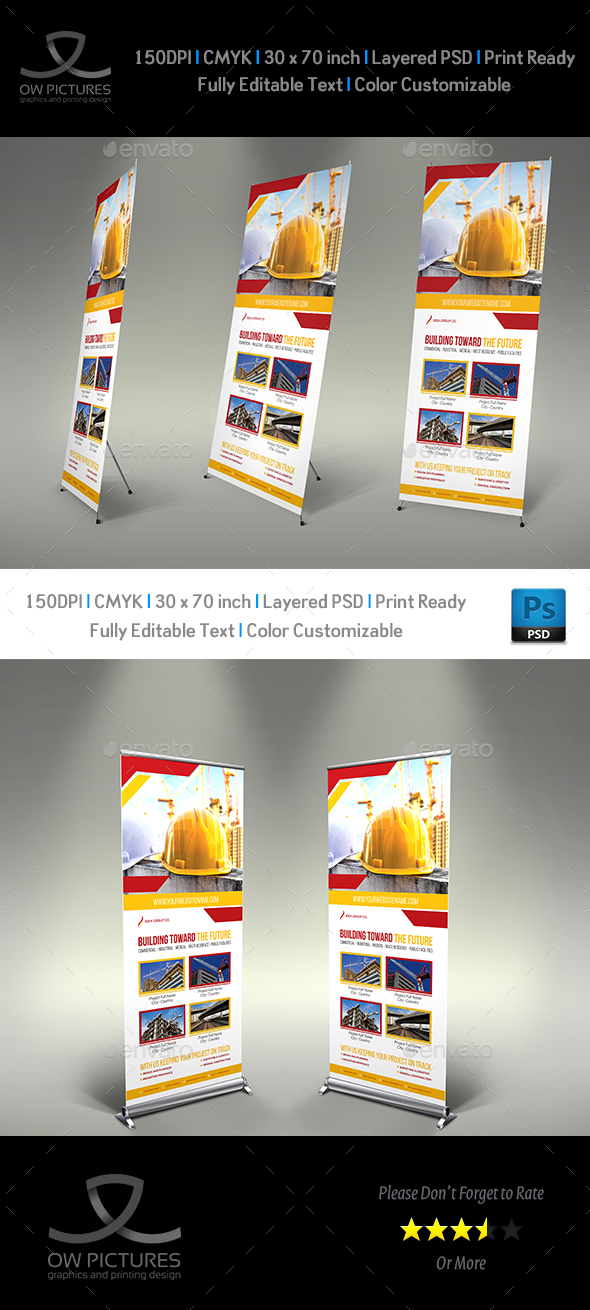 Construction Business Signage Roll Up Template Vol.5 - Signage Print Templates
