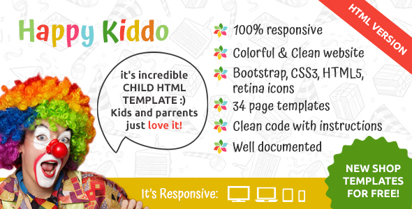 Happy Kiddo - Multipurpose Kids HTML Template - Children Retail