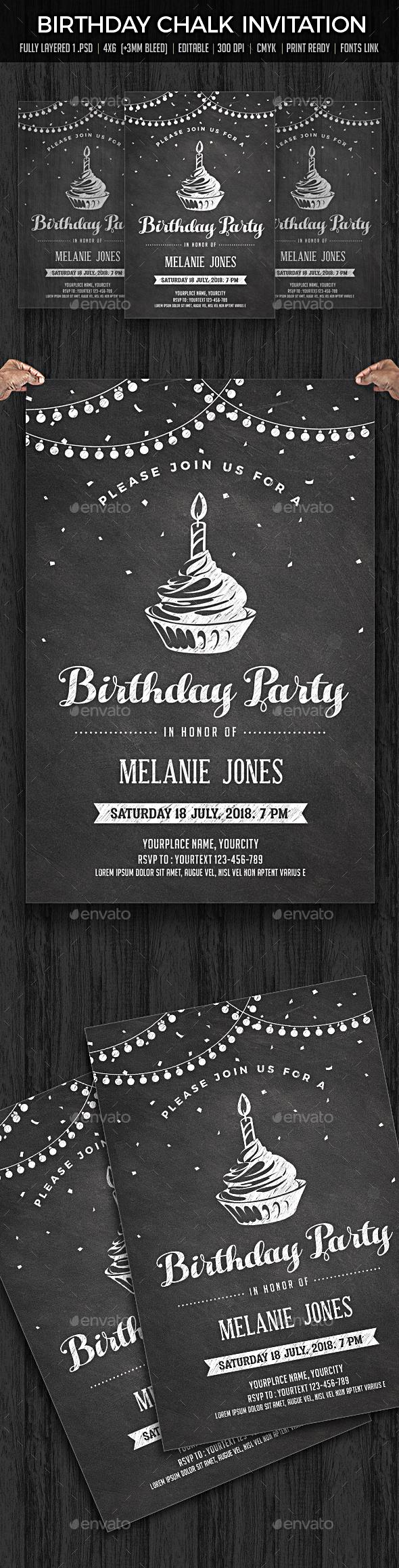 Birthday Invitation Chalk - Cards & Invites Print Templates