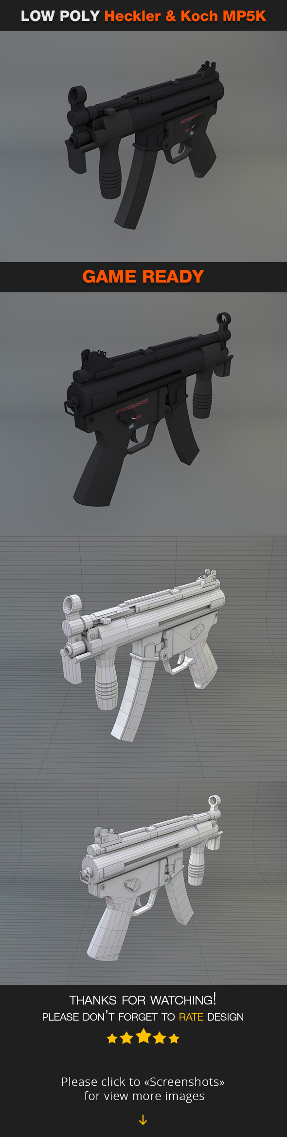 Low Poly Heckler & Koch MP5K - 3DOcean Item for Sale