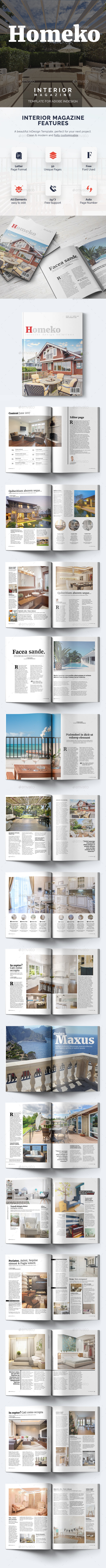 Homeko - 50 Pages Interior Magazine Template - Magazines Print Templates