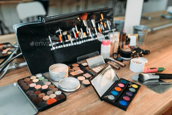 Professional makeup artist cosmetics tools closeup - Stock Photo - Images