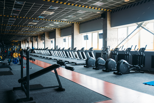 Gym nobody, empty fitness club - Stock Photo - Images