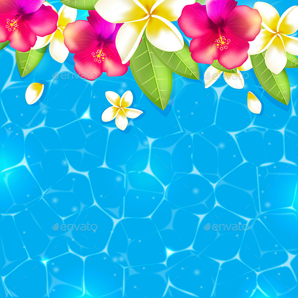 Tropical Flowers And Leaves In Blue Water