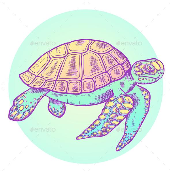 Hand Drawn Sea Turtle - Animals Characters
