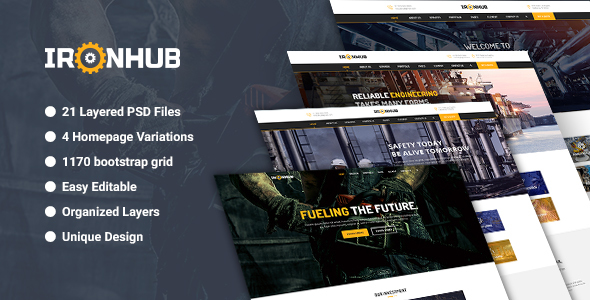 IronHub – Industrial / Factory / Engineering PSD Template