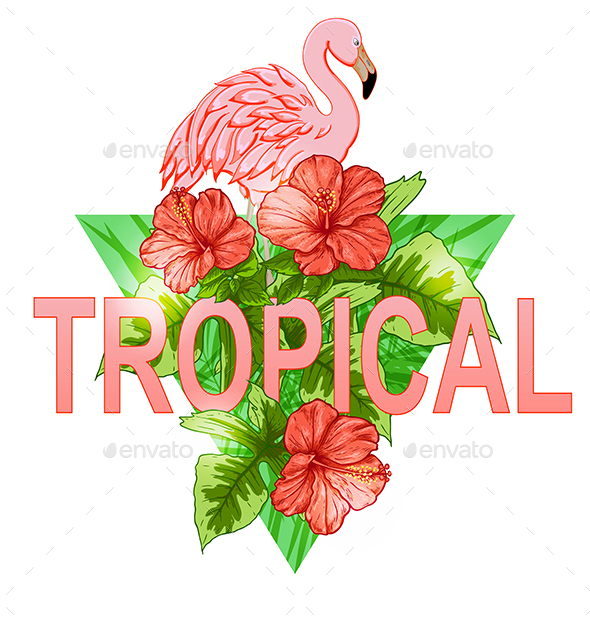 Tropical Banner with Flamingo - Animals Characters