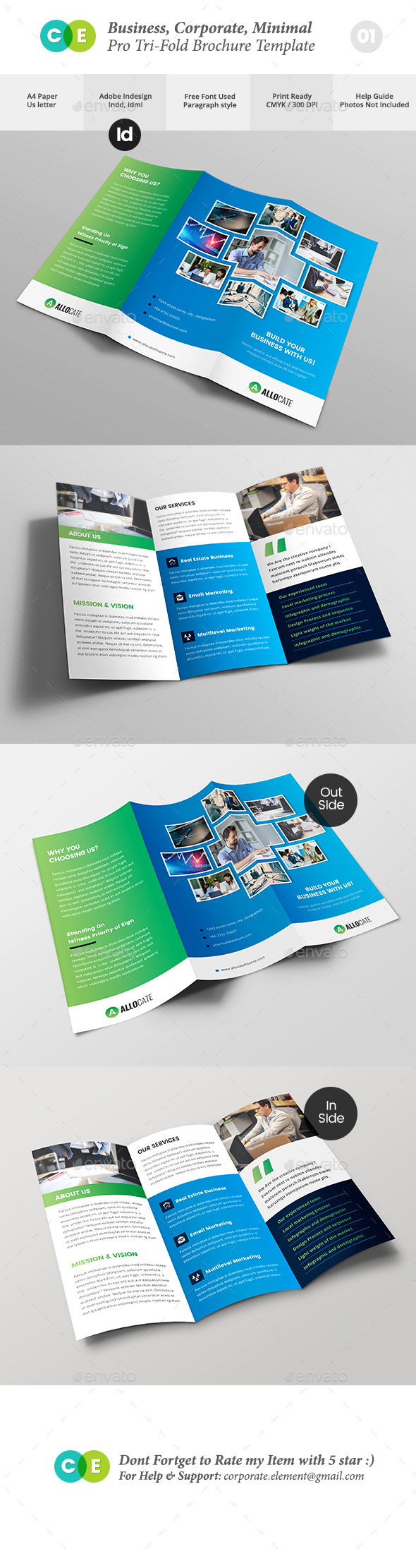 Business Clean Corporate Pro Tri-Fold Brochure V01 - Brochures Print Templates