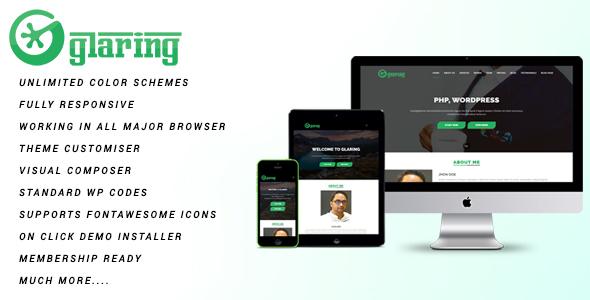 Glaring One Page WordPress Responsive Theme
