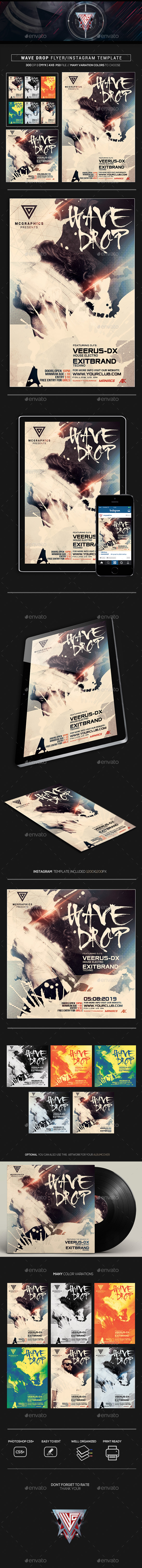 Wave Drop Flyer/Instagram Template - Events Flyers