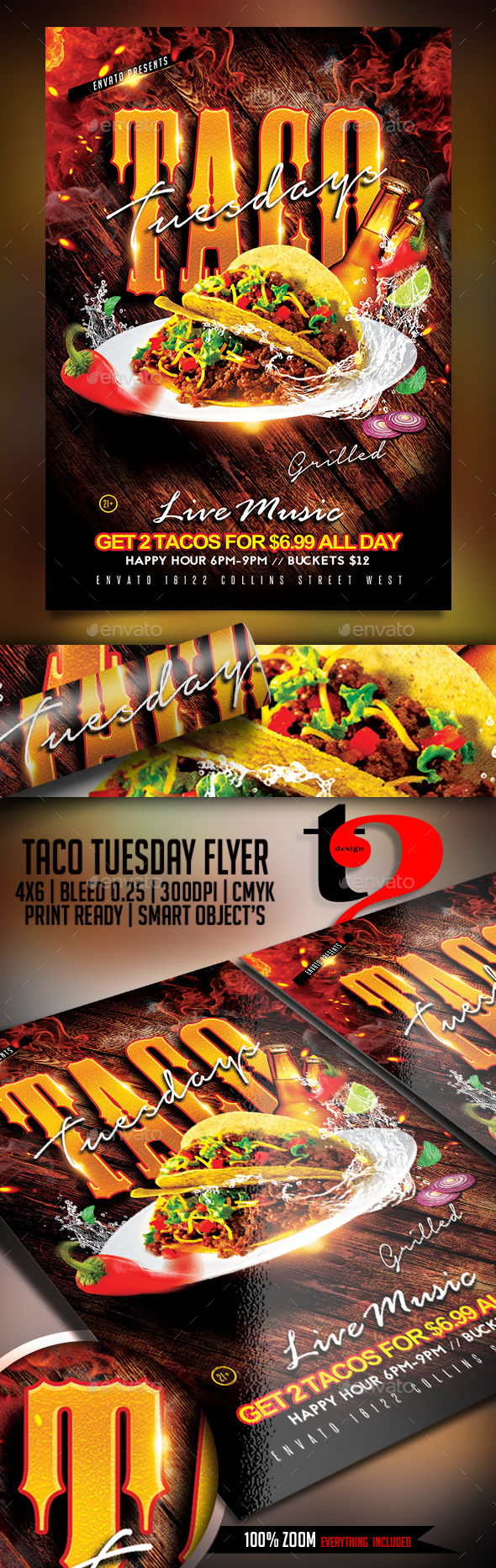 Taco Tuesday Flyer Template - Restaurant Flyers