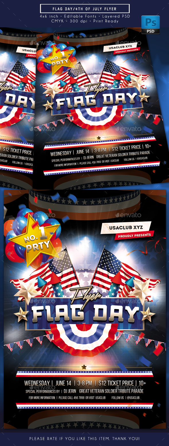 Flag Day 4th of July Flyer - Holidays Events