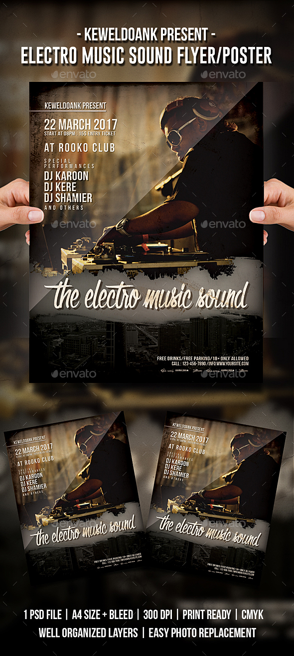 Electro Music Sound Flyer / Poster - Clubs & Parties Events