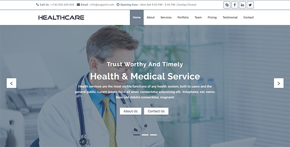 HealthCare – Onepage Health and Medical Business Template