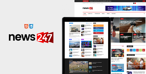 News247 – News Magazine Newspaper HTML5 Template