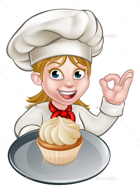 woman chef or baker cartoon by krisdog graphicriver cupcake clipart free download cupcake clip art free images