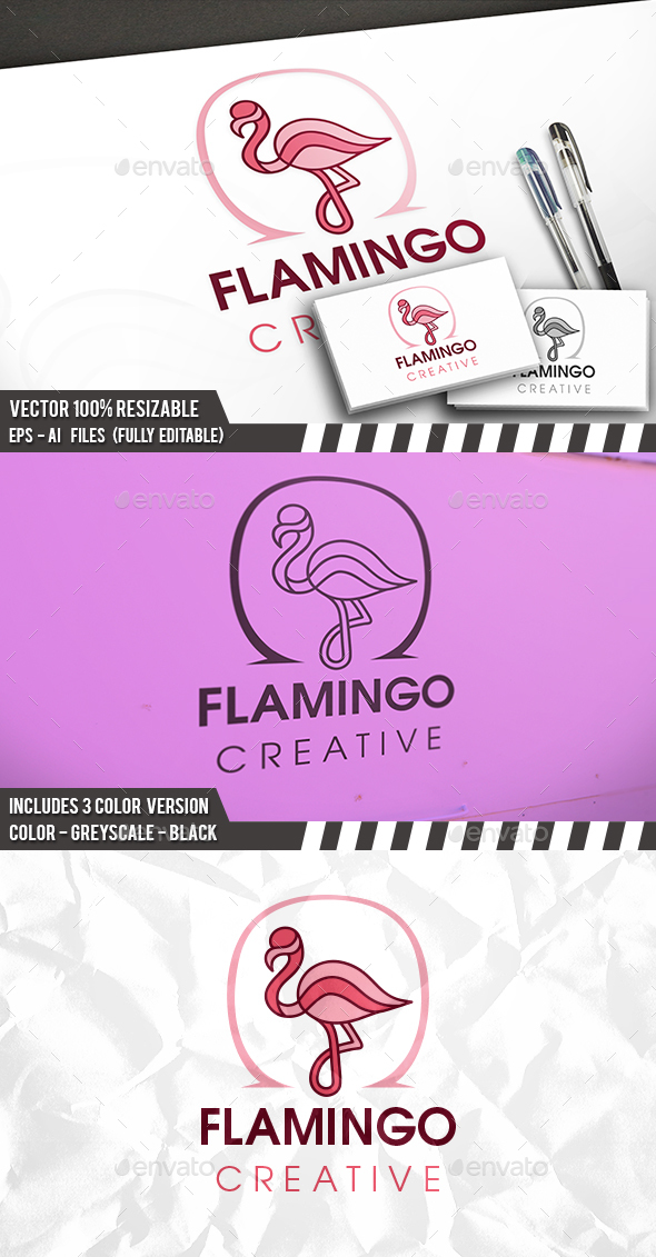 Infinite Flamingo Logo - Animals Logo Templates