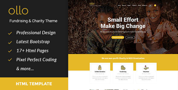Image of ollo Fundraising & Charity HTML Template