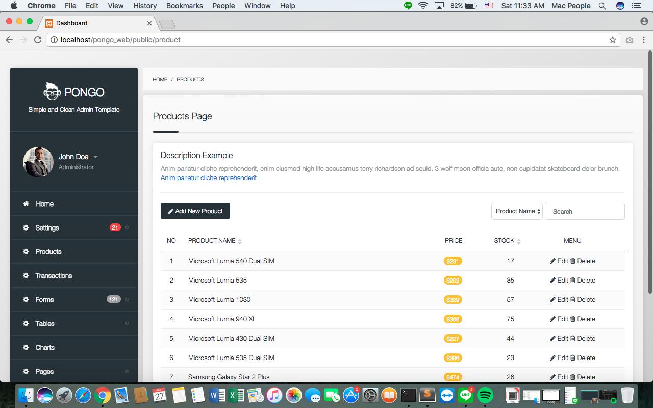 Pongo - Laravel Admin Template + User Management + CRUD by Native-Theme