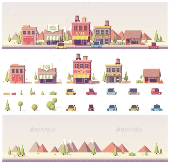 Vector Low Poly Buildings and City Scene - Buildings Objects