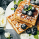 Belgian waffles with blueberries and mint - PhotoDune Item for Sale