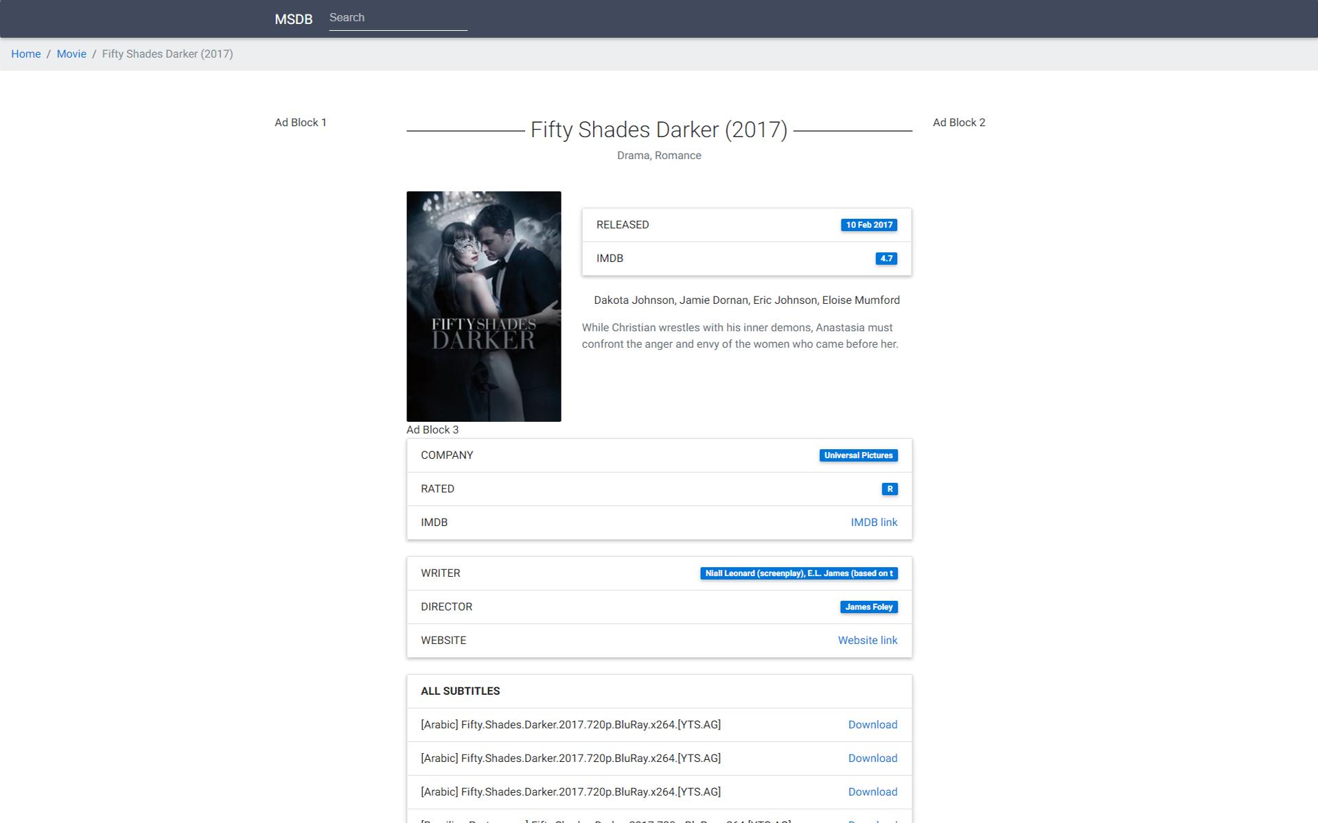 MSDB - Movie Subtitles Database