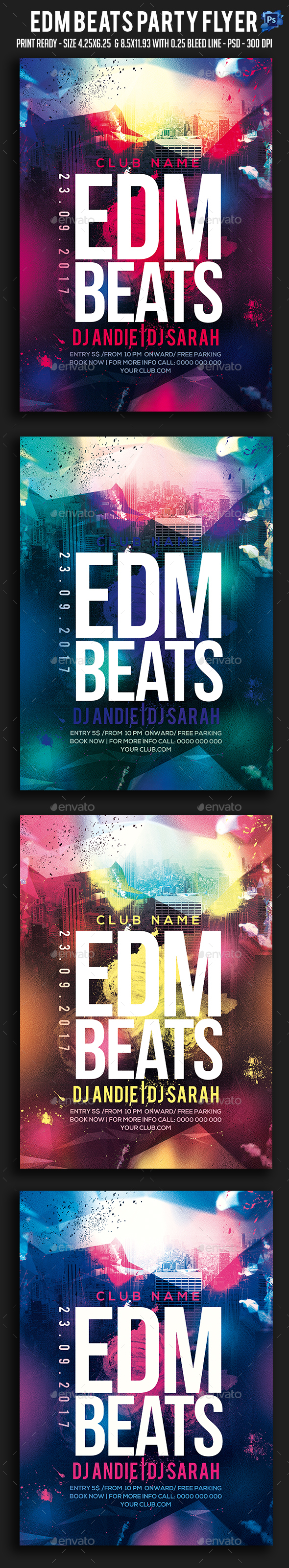 Edm Beats Party Flyer - Clubs & Parties Events