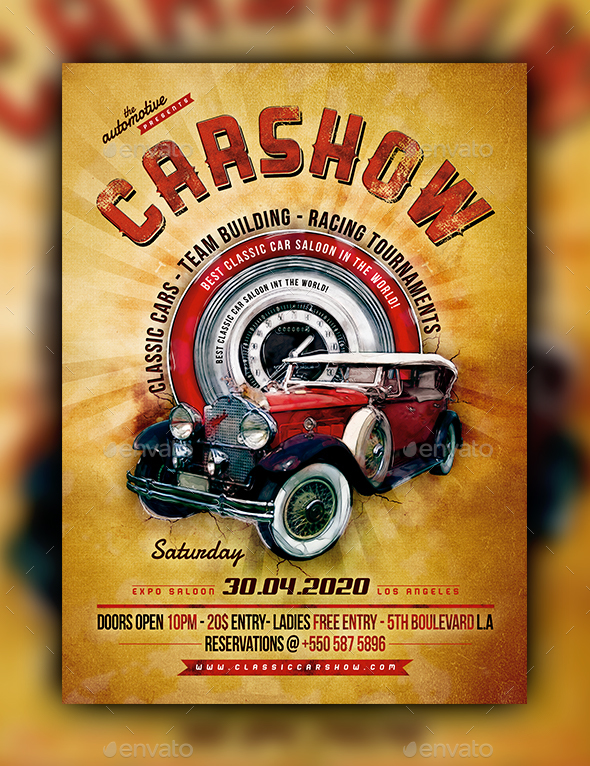 Classic Car Poster Template By Fadeink GraphicRiver - Classic car show poster template