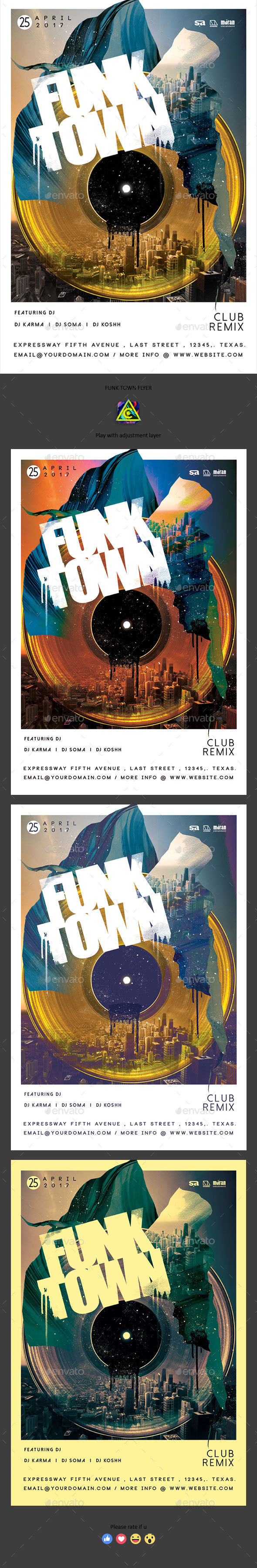 Funk Town Flyer - Clubs & Parties Events