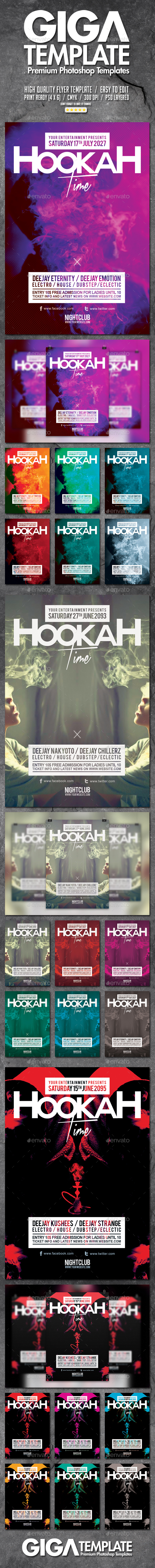 Hookah Smoke Bundle | Stylish Modern Flyer PSD Template - Events Flyers