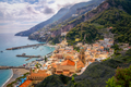 Cityscape view of Amalfi with colorful houses and ocean coastline