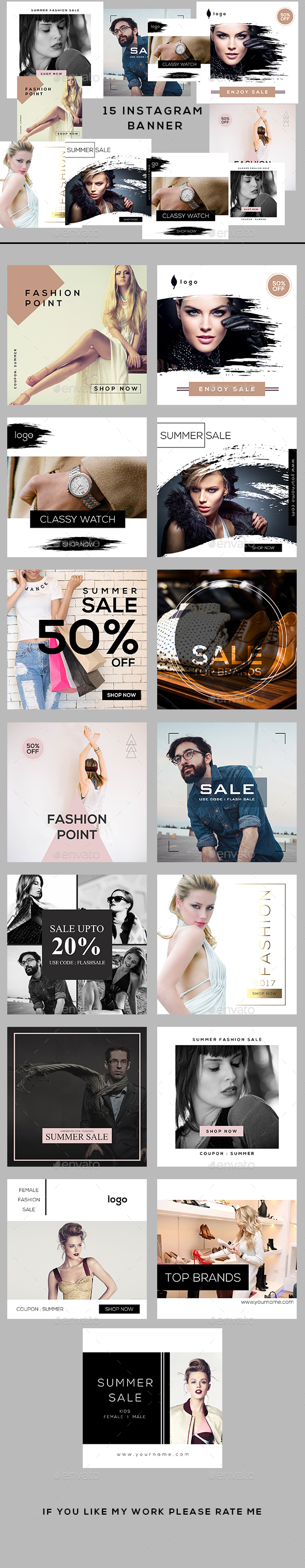 Fashion Instagram Banners - Banners & Ads Web Elements