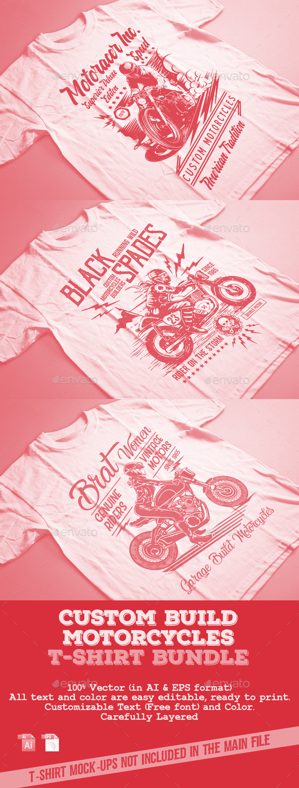 Custom Build Motorcycles T-Shirt Bundle - T-Shirts