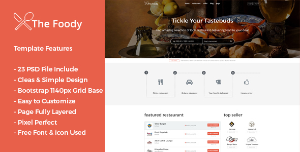 Thefoody - Multiple Restaurant System PSD Template