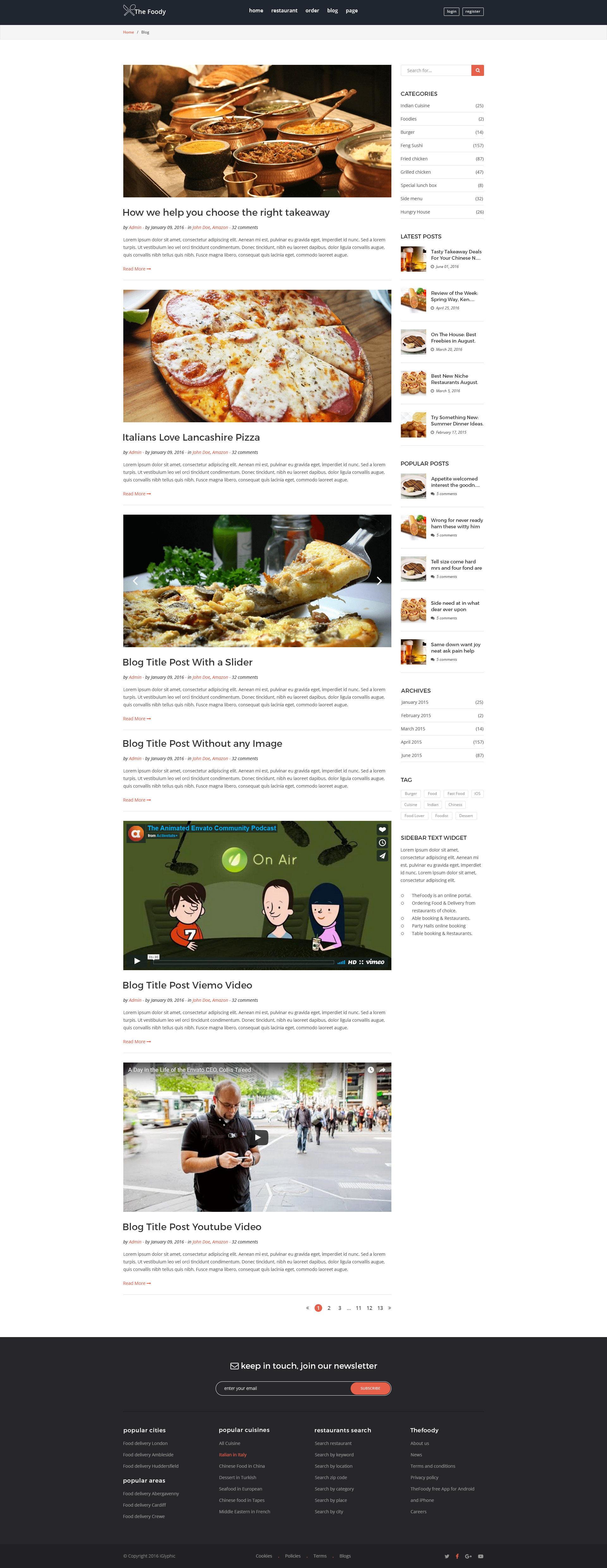 Thefoody Multiple Restaurant System Psd Template By Iglyphic